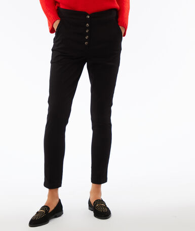 High waist buttoned peg leg trousers black.