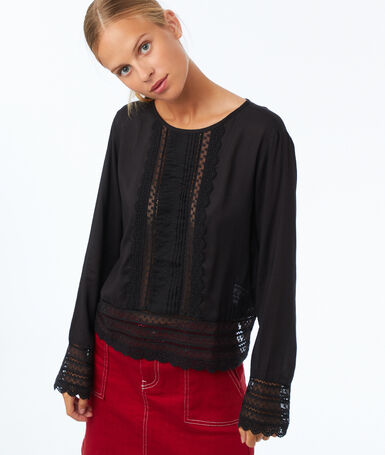 Guipure lace yoke blouse black.