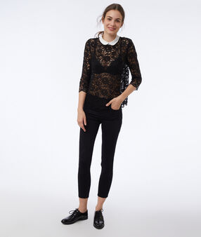 Openwork peter pan collar blouse black.