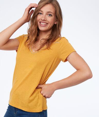 T-shirt with metallic edges honey yellow.