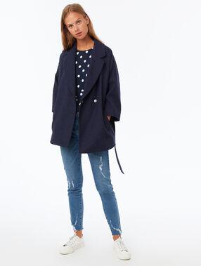 3/4 plain coat with belt navy blue.