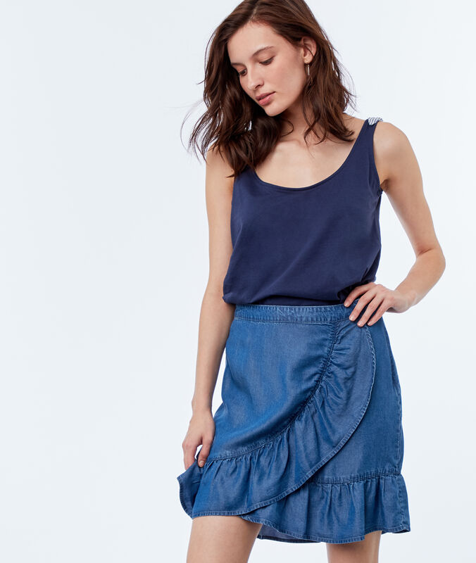 Ruffle denim skirt midwash blue.