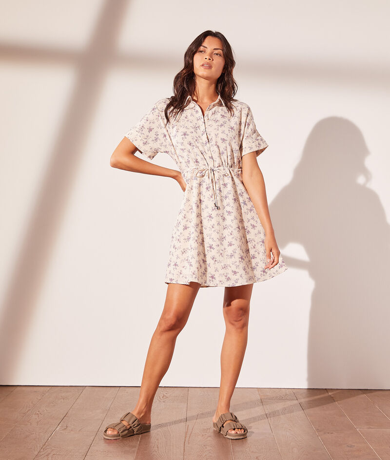Printed shirt dress with tie