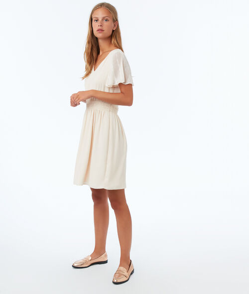 Dress with guipure sleeves