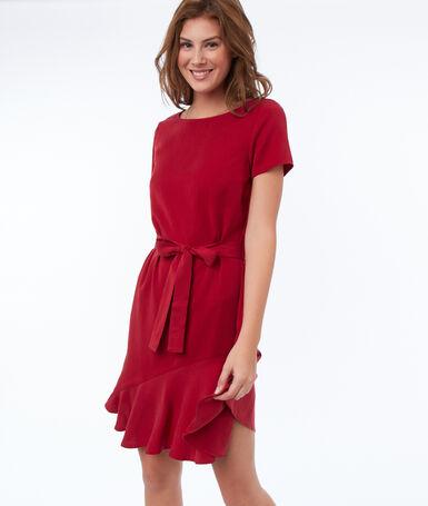 Plain dress with tencel® belt carmine red.