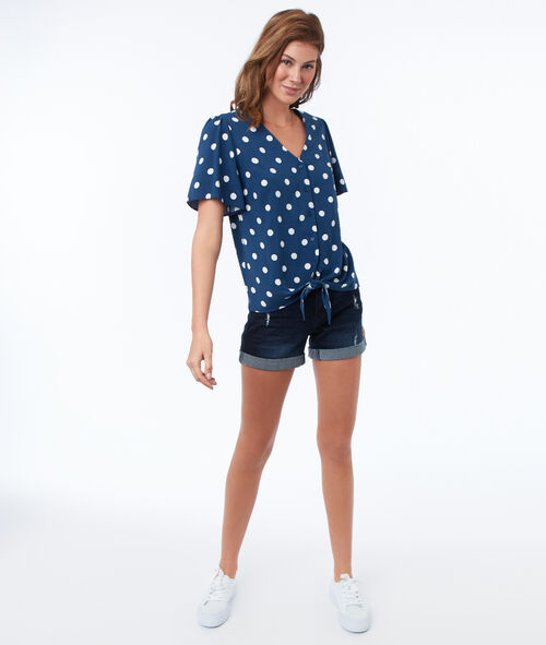 Polka dot top knotted at the front