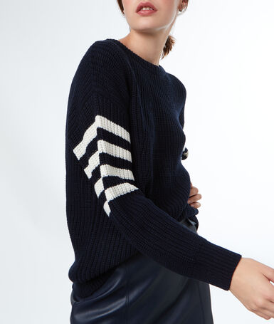 Jumper with lace-up detail at back navy blue.