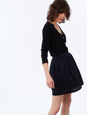 Embroidered skirt navy blue.