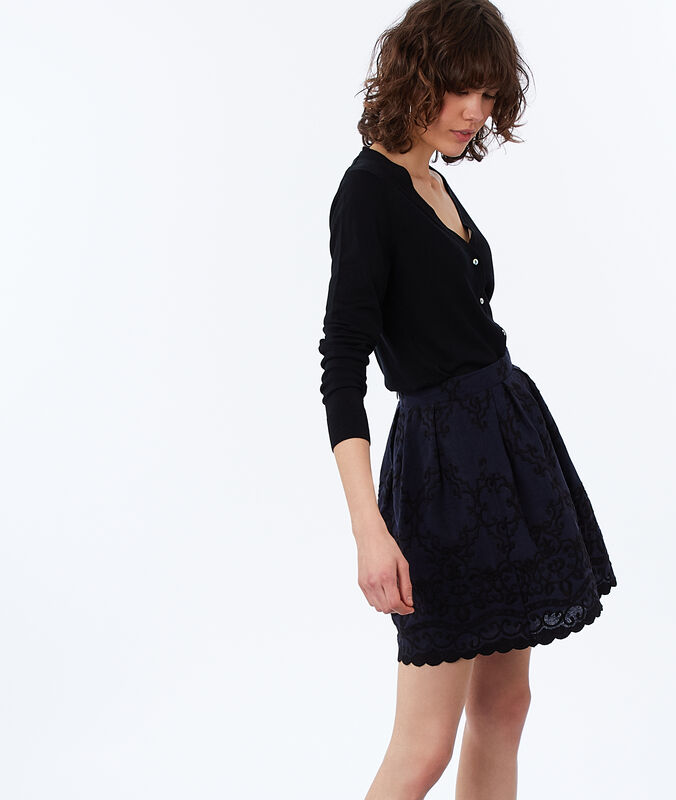 Embroidered skirt navy blue.