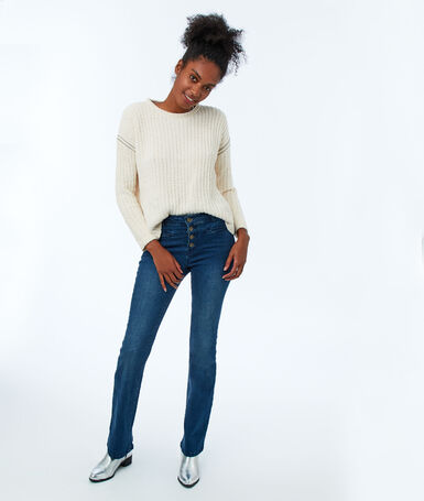 Front-buttoned flare jeans raw blue.