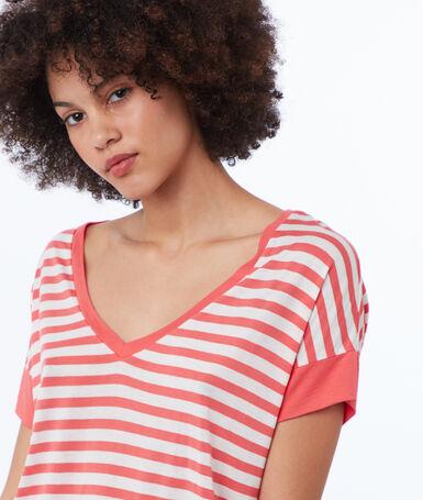 V-neck striped t-shirt apricot.