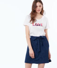 Skirt with belt ink blue.