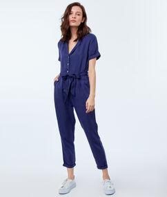 Belted jumpsuit indigo blue.