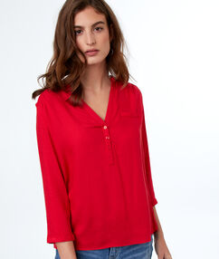 Blouse unie manches 3/4 rouge.