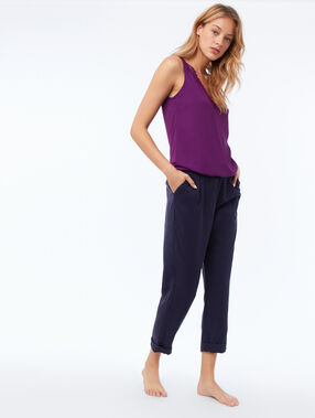 Cotton top with guipures violet.