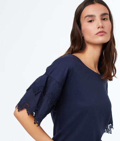 Lace insert top navy blue.