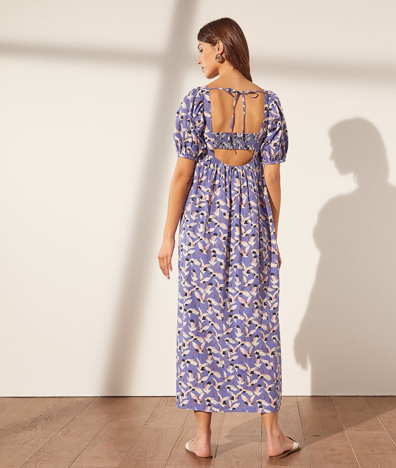 Long print dress with balloon sleeves