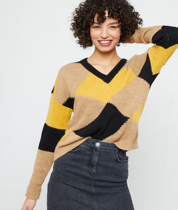 Maxi knit jumper in a graphic pattern
