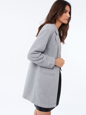 Long jacket with a tailored collar light flecked grey.