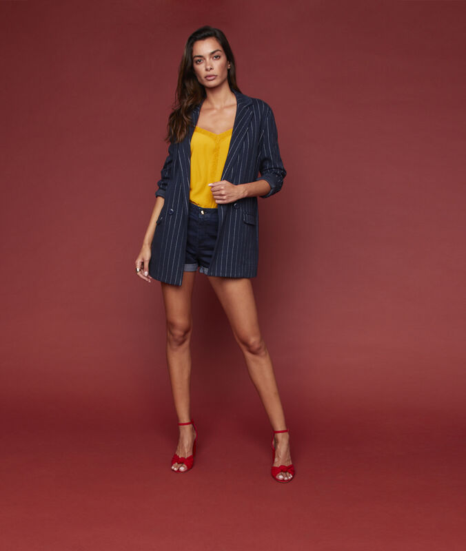 Striped suit jacket navy blue.