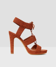 Braided sandals with heels brown.