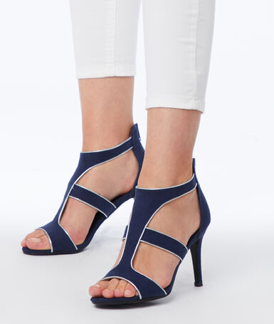 Heeled sandals navy blue.
