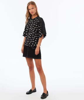 Polka-dot printed blouse black.