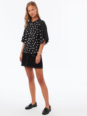 Polka-dot printed blouse black.