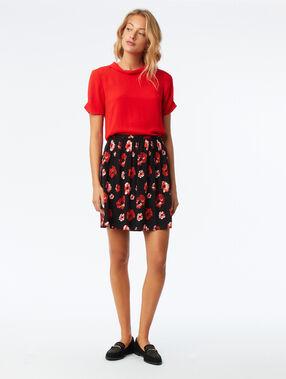 Floral skater skirt black and red.