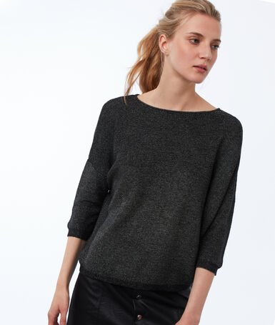 3/4 sleeve sweater with wide neck black.