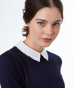 Jumper with shirt collar navy blue.