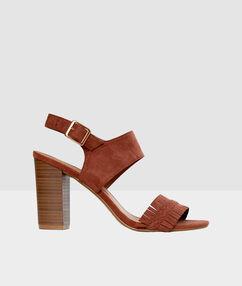 Heeled sandals ochre.