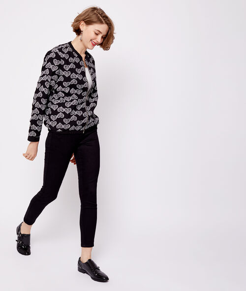 Heart print bomber jacket