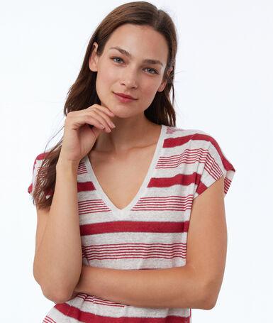 Mixed linen striped t-shirt carmine.