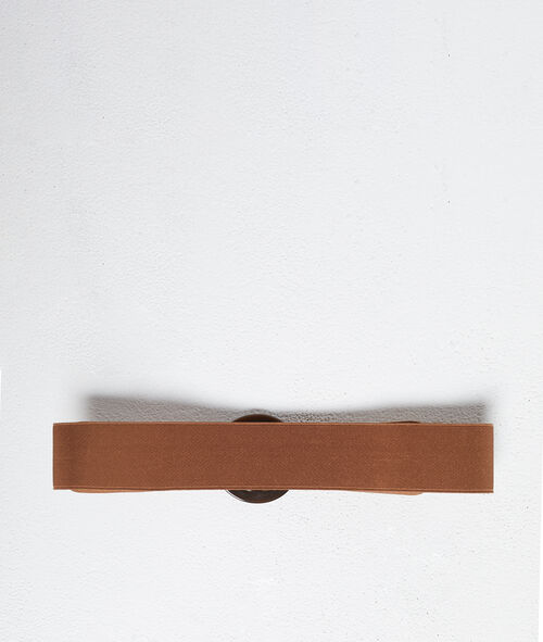 Belt with marble-coloured buckle