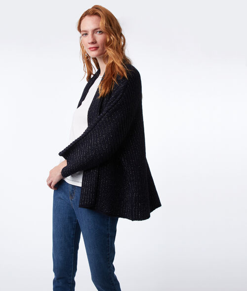 Knitted cardigan with metallic thread