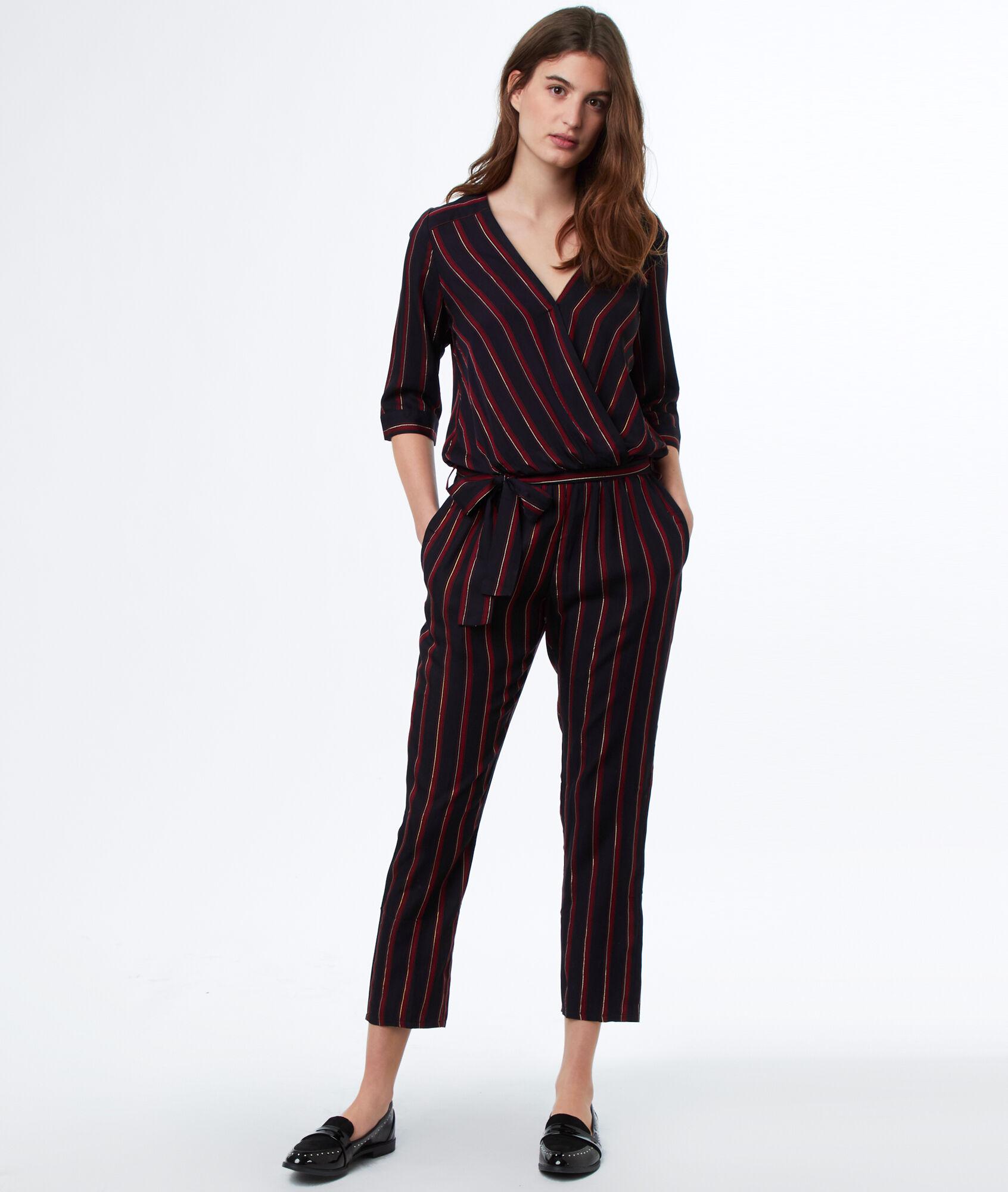 Striped Jumpsuit Stripe Navy Blue Etam