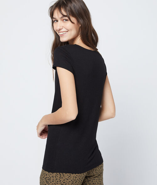 Plunge neck t-shirt with ties and guipure lace