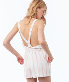 Crossover striped playsuit pale pink.