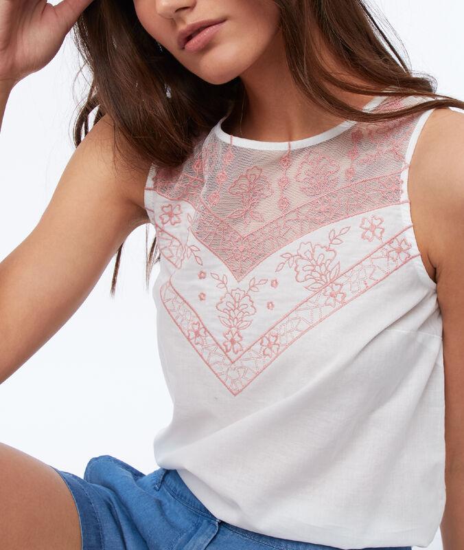 Embroidered neck sleeveless top white.