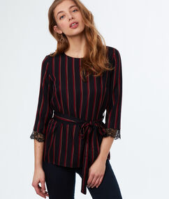Striped top navy blue.