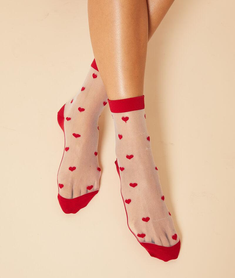 Chaussettes mode en tulle motifs coeurs