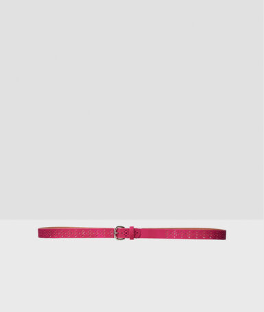 Leather belt fuchsia.