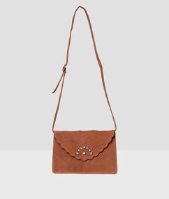 Bag in split leather nude.