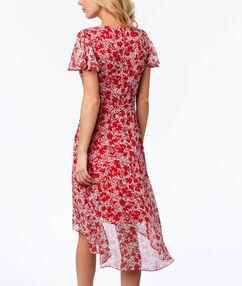 Floral print dress red.