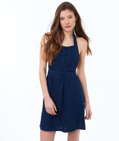 Cami dress raw blue.