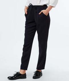 Woven peg trousers navy blue.