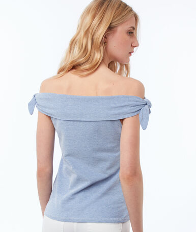Top with shirring navy blue.
