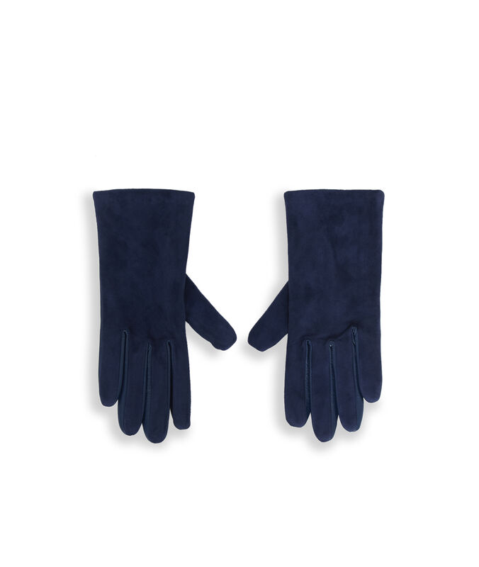 Duel fabric leather gloves blue.