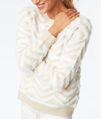Pull grosse maille beige.